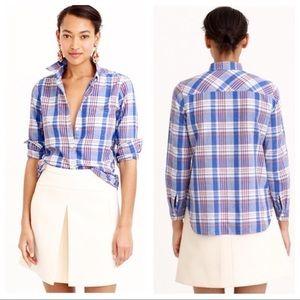 J.Crew Textured Plaid Cotton Shirt